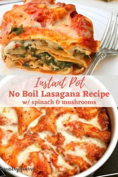 Delicious lasagna packed with spinach, mushrooms, garlic and cheeses pressure cooked in the Instant Pot. #ministryofcurry #instantpot Veggie Recipes Healthy, Vegetarian Recipes Videos, Easy Chicken Recipes, Spinach Mushroom Lasagna, Spinach Stuffed Mushrooms, Instant Recipes, Instant Pot Dinner Recipes, Vegetarian Main Dishes, Vegetarian Dinners