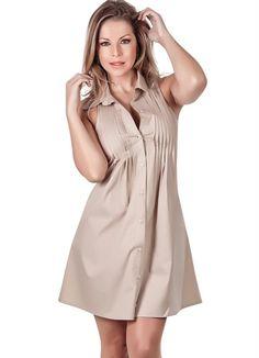 Vestido com Gola Pólo Bege - R$79.99