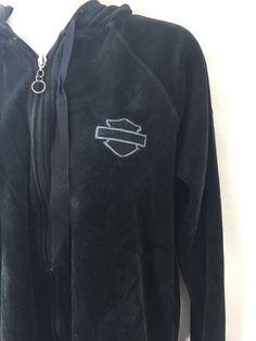 Harley-Davidson Velour Velvet Hoodie Zip Up Long Sleeve Jacket Women's L Large #HarleyDavidson #Hoodie