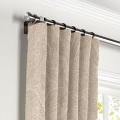 White & Tan Embroidery Curtains with Pocket Close Up