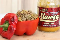 Slawsa Stuffed Peppers Recipe. This is an awesome stuffed pepper recipe using ground turkey and slawsa!