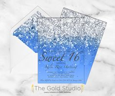 Customizable Deep Blue Glitter Ombre Sweet by TheGoldStudio