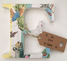 Decoupage wooden letter (any) Freestanding perfect baby shower, new baby gift or first birthay gift -Peter Rabbit Nursery decor. Decoupage wooden letter (any) Freestanding perfect baby shower, new baby gift or first birthay gift - Diy Baby Gifts, Personalized Baby Gifts, Toddler Gifts, Peter Rabbit Gifts, Decoupage Letters, Peter Rabbit Nursery, Bunny Nursery, Classic Baby Books, New Baby Presents