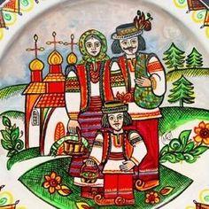 Hand Painted Walls, Painted Plates, Plates On Wall, Christmas Carol, Christmas Time, Ukrainian Art, Russian Folk, Naive Art, My Heritage