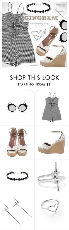 """Gingham style"" by vn1ta ❤ liked on Polyvore featuring Tabitha Simmons, Noir Jewelry and Jordan Askill"