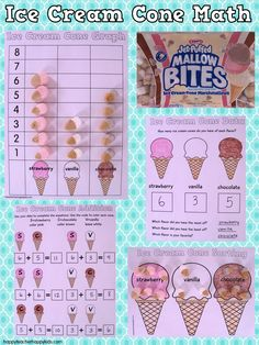 Ice Cream Cone Marshmallow Math! Fun & easy for first week back at school! #backtoschool