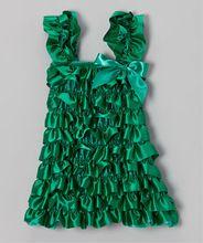Fashion Boutique Girls Clothes Christmas Green Satin Ruffle Dress , Holiay Dress(China (Mainland))