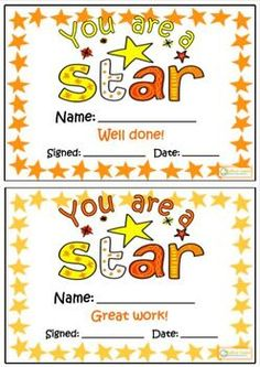 This is a motivating resource for rewarding positive student behaviour. There is a choice of two bright colour themes.