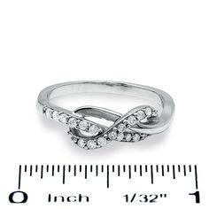 1/4 CT. T.W. Diamond Infinity Ring in 10K White Gold - Zales