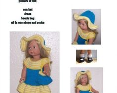 Sunhat and Dress  A fifties style outfit, with an inlet striped panel at the front, trimmed with bows and a 3 button fastening at the back, A matching sunhat completes the outfit. This pattern is my own design Materials Approx 50 grms of DK knitting yarn (worsted weight US) in white. 20grms in navy and pink 1 pair of (8 UK) (6 US) (4mm) knitting needles or size to achieve a tension of 5st to the inch, 3 buttons for back opening  ABBREVIATIONS P purl, K Knit, tog together, . sts stitches, inc…