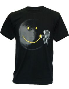 SODAtees Full Moon Graffiti Tag Smiley Graphic Design Mens T-SHIRT
