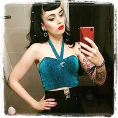 "Repost from @violetsinmay  Found this gorgeous pic of @catykane in my ""kitty"" atomic top in turquoise!  Each too is decorated with a @glitterparadise boomerang broach!  Top length can be extended on request  #pinup #pinupgirl #atomic #midcentury #fashion #lurex #1950s #retro #rockin #Regrann"