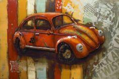 3D Wanddecoratie:Het is een afbeelding van een oude rode auto die in de jaren zestig heel veel rond reden in Nederland.Het is een prachtige auto en een mooie 3D afbeelding.