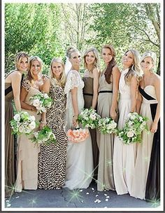 Stunning color mix for wedding pics. Would love to wear the dress on the right!