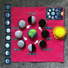 High quality felt handmade fun playmat activity to help your child learn about the phases of the moon. The moon is fascinating and has many faces—get to know them all! Moon Activities, Preschool Activities, Space Preschool, Space Activities, Science Projects For Kids, Crafts For Kids, Moon Phase Project, Science Toys, Science Education