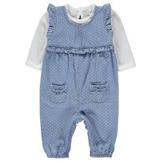 Another one of our favourite styles for your baby, this sweet dungarees and top set is perfect for dressing them up in comfortable style. With long sleeves a. Dress Outfits, Girl Outfits, Hello Kitty, My Baby Girl, Baby Girls, Baby George, Settee, Dungarees, Baby Sewing