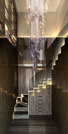 Old Queen Street Entry Staircase and Chandelier by Rock Hunter Stair Lighting, Interior Lighting, Cool Lighting, Chandelier Lighting, Texas Home Decor, Beautiful Stairs, Residential Lighting, Modern Stairs, Ceiling Hanging