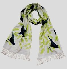 Forest Birds by Bonbi Forest, Soft 100% viscose shawl printed with environmentally friendly inks. Gets softer the more it is worn, washed and loved! Available from The Shop Floor Project.