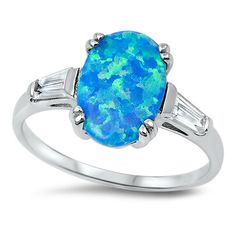 Blue Lab Opal Polished Teardrop Cute Ring .925 Sterling Silver Band Sizes 4-10