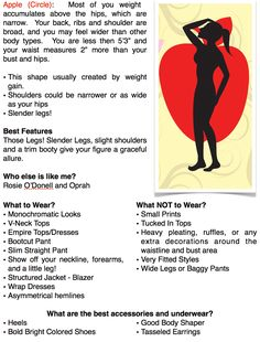 "Fashion tips for the apple body shape.  What to wear and not to wear. A page out of my book ""Overcoming Your Wardrobe"""