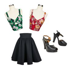Our black cotton Gathered Mini Skirt paired with the Hottie Top in Crepe Myrtle or Red Waterlillies makes for a great outfit no matter the occasion. Add the Re-Mix Miranda Heels to either of these outfits and take your look to the next level!