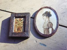 Mini watercolor fraktur Love Token and mini watercolor portrait of a circa 1810 style Lady in a wallpaper covered frame by Steve Shelton.  SOLD.