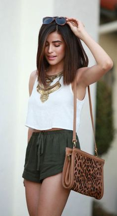 #summer #fashion / crop top + olive green romper