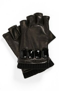 Leather fingerless gloves are a must-have accessory to complete your edgy look.