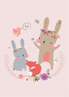 A sweet and whimsical illustration of a bunny with her woodland friends. Illustrated by Aless Baylis. Illustration Inspiration, Art And Illustration, Fuchs Baby, Image Deco, Bunny Art, A4 Poster, Posters, Kids Prints, Nursery Art