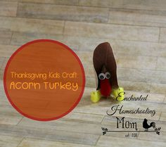 Are you looking for a Thanksgiving kids craft? Have fun with this kid's hands-on Acorn Turkey Craft! #kidscraft #thanksgivingcraft