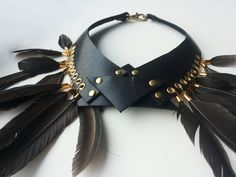 Black Leather Collar Wings Of Queen by PYKOK on Etsy