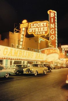 """vintagelasvegas: """"Lucky Strike Club, Las Vegas, c. Golden Nugget's slanted Gambling Hall and Saloon signs installed in Fortune Club (far right) was closed by Apr. Vegas Casino, Las Vegas Nevada, Las Vegas Love, Old Vegas, Vegas Sign, Vintage Neon Signs, Environmental Graphic Design, Neon Nights, Photoshop"""