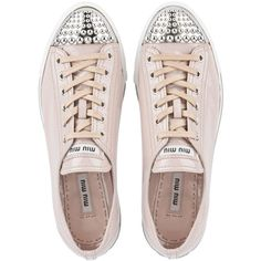 Miu Miu Sneakers (930 BAM) ❤ liked on Polyvore featuring shoes, sneakers, flats, pale pink, miu miu sneakers, miu miu shoes, flats sneakers, rubber sole shoes and flat pumps