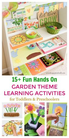 Fun and Hands On Garden Theme Learning Activities Ideas for Preschoolers and toddlers. We had so much fun learning at home with all the Garden theme learning activities and our Learning Shelf. Here's a summary post of all the activities. Preschool Learning Activities, Spring Activities, Fun Learning, Preschool Activities, Time Activities, Outdoor Activities, Preschool Themes By Month, Preschool Garden, Preschool Crafts