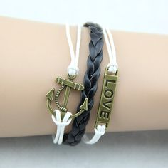Pretty charms bracelets jewelry diy custom Fashion jewelry Friendship Leather Retro Knit love Anchor Bracelet black White gift on Etsy, $5.90