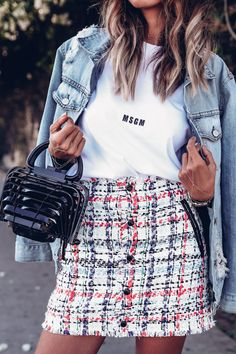 Favorite spring outfit at the moment - mini skirt from Rag & Bone, white t -shirt, and oversized denim jacket from Rails + Cult Gaia bag - spring / summer outfit idea