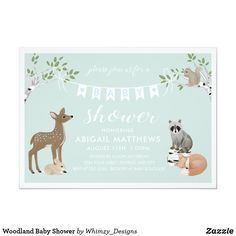 Shop Woodland Baby Shower Invitation created by Whimzy_Designs.