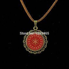 Vintage Neon orange and red Mandala boho pendant Handmade Kaleidoscope Buddhism Mandala Necklace Art Glass Dome jewelry L 364 //Price: $US $0.82 & FREE Shipping //     #hashtag1