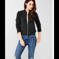 Gap Quilted Jacket Size XS black quilted Gap jacket, never worn! Very soft, 55% polyester, 45% cotton. Runs fitted. Very cute but it's just been sitting in my closet and needs a good home! Image not mine, owned by gap. GAP Jackets & Coats