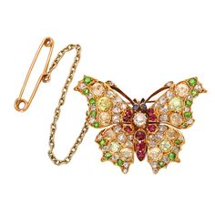 Fancy-colored Diamond and Ruby Antique Butterfly Brooch