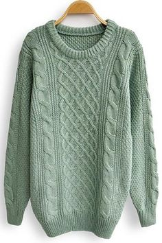 Green Long Sleeve Serratula Loose Pullovers Sweater