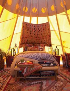 The inside of a luxurious teepee, the Old West meets Marrakesh • Photography by Michael Partenio