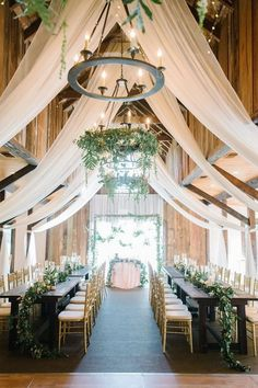 barn wedding reception ideas with ivory draping #wedding #weddingideas #barnwedding