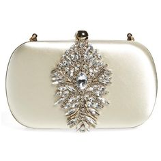 Women's Badgley Mischka Aurora Clutch (850 RON) ❤ liked on Polyvore featuring bags, handbags, clutches, purses, ivory, white purse, strap purse, hand bags, badgley mischka and crystal purse