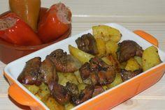 Retete Culinare - Cartofi si ficatei de pui la cuptor