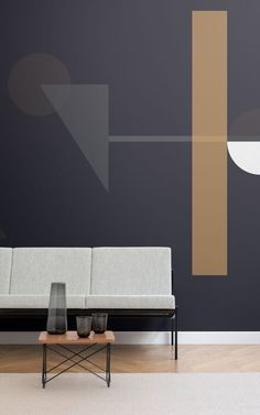 4 Geometric Wallpapers To Create A Refined Space Geometric Wallpaper Design, Geometric Wall Paint, Living Room Paint, Living Room Decor, Bedroom Decor, Home Interior, Interior Design, Bedroom Wall Designs, Room Setup