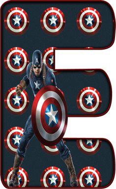‿✿..E..✿‿DE ALFABETO DECORATIVO Captain America Party, Captain America Birthday, Superhero Letters, Superhero Classroom, Avengers Birthday, Superhero Birthday Party, Baby Shower Fun, Alphabet And Numbers, Marvel Heroes