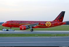"""Brussels Airlines Airbus A320-214 OO-SNA being towed at Ostrava-Leoš Janáček, April 2016. Special """"Red Devils"""" livery in support of the Belgian National Football Team who will be competing at the upcoming European Championships in France. (Photo: Robert Kolek)"""