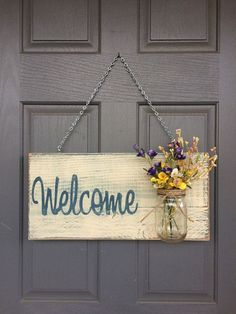 Rustic Outdoor Welcome Sign in blue/white - Mothers Day Gift - Front Door Sign - Rustic Home Decor - Wedding Gift - Home Decor - Custom Sign #handmadehomedecor