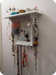 Jewelry Display Idea. I like the shelf on top.